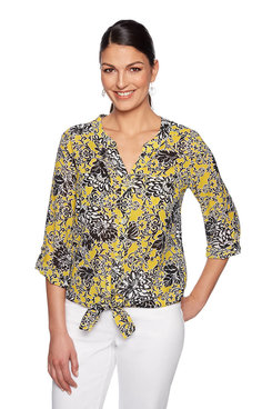 Image: Plus Floral Front Tied Top