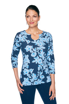 Image: Plus Floral Horseshoe Neckline Top