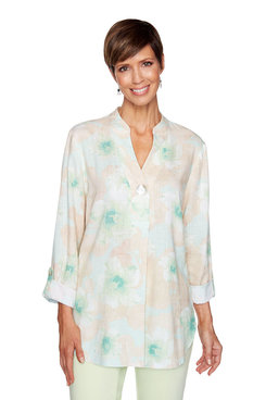Image: Plus Floral Linen Top