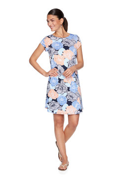 Image: Plus Floral Poppy Puff Printed Dress