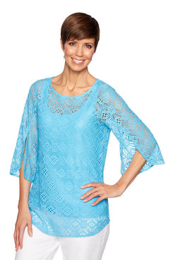 Image: Plus Floral Stretch Lace Top
