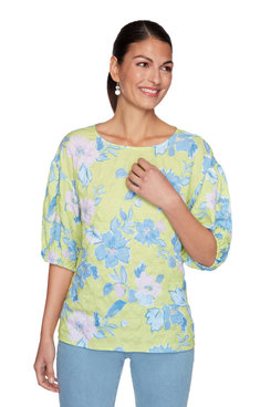 Image: Plus Floral Textured Puff Sleeve Top