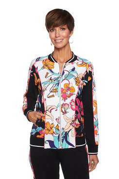 Image: Plus Floral Zip Up Jacket