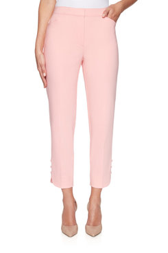 Image: Plus Fly-Front Double Stretch Pleated Ankle Pant