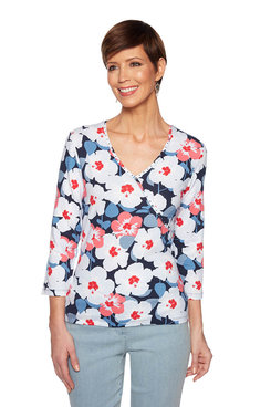Image: Plus Hibiscus Mock Wrap Top