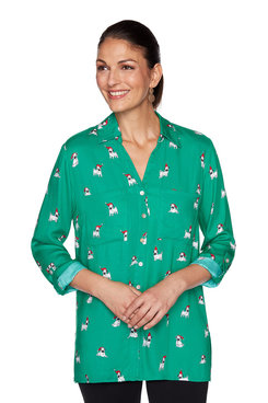 Image: Plus Holiday Pug Button-Front Top