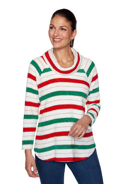 Image: Plus Holiday Striped Chenille Pullover
