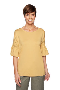 Image: Plus Lace Bell Sleeve Top