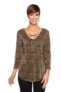 Image: Plus Leopard Criss Cross Top
