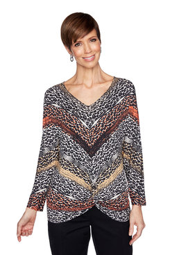 Image: Plus Leopard Diagonal Striped Top