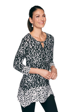 Image: Plus Leopard Ikat Print Top