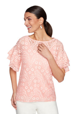 Image: Plus Lined Floral Stretch Lace Top