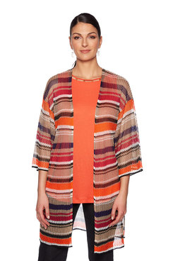 Image: Plus Multi Stripe Cardigan