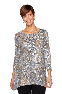 Image: Plus Paisley Brocade Knit Top