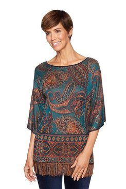 Image: Plus Paisley Fringe Top