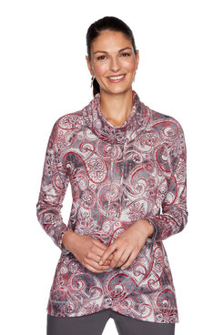Image: Plus Paisley Heather Cowl Neck Pullover