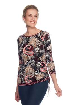 Plus Paisley Side Ruched Top
