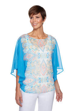 Image: Plus Provence Paisley Print Yoryu Butterfly Top