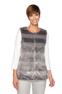 Image: Plus Stripe Fur Vest