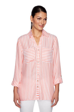 Image: Plus Stripe Twill Top
