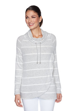 Image: Plus Striped Heather Cowl Neck Pullover