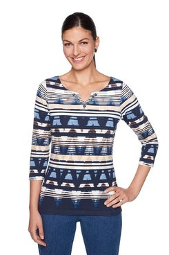 Image: Plus Striped Ikat Top
