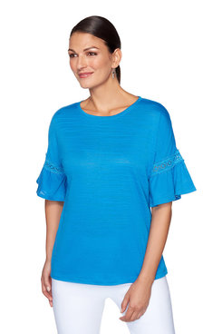Image: Plus Textured Lace Bell Sleeve Top