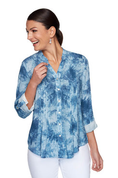 Image: Plus Tie-Dye Button Front Top