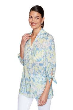 Image: Plus Tie-Dye Button-Up Bow-Tie Sleeve Top
