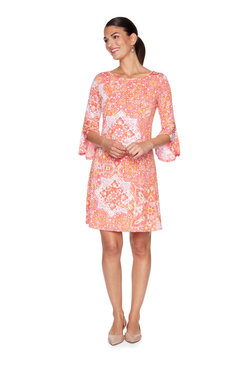 Image: Plus Tile Puff Printed Flared Sleeve Dress