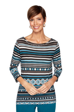 Image: Plus Western Geo Stripe Top