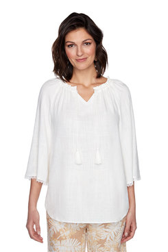 Image: Plus White Tassel Linen Top