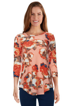 Image: Plus Women's Autumn Rose Printed Waffle Knit Top