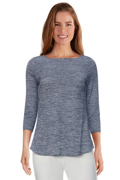 Image: Plus Women's Classic Striped Space Dyed Top