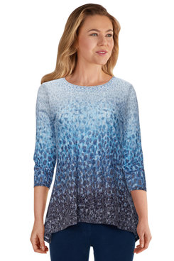 Image: Plus Women's Embellished Ombre Printed Burnout Top
