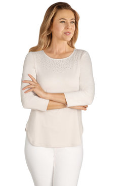 Image: Plus Women's Embellished Soft Peached Jersey Top