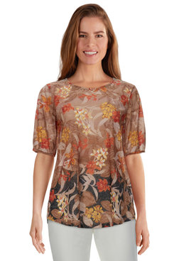 Image: Plus Women's Embellished Tropical Ombre Printed Burnout Top