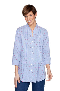 Image: Plus Women's Gingham Dot Embroidered Button-Front Top