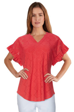 Image: Plus Women's Lined Floral Knit Eyelet Top