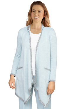 Image: Plus Women's Open-Front French Terry Cardigan