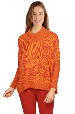 Image: Plus Women's Oversized Patchwork Printed Sweater