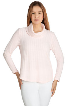 Image: Plus Women's Ribbed Chenille Cowl Neck Pullover