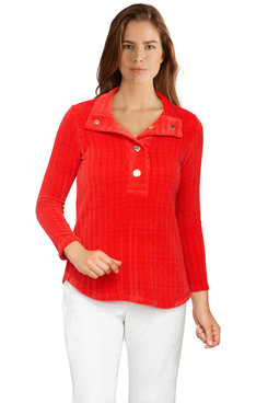 Image: Plus Women's Ribbed Chenille Snap-Collar Pullover