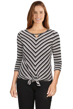Image: Plus Women's Ribbed Knit Striped Top With Front Tie
