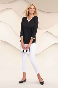 Image: Plus Women's Soft Jersey Top With White Trim