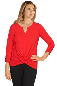 Image: Plus Women's Solid Embellished Twist-Front Top