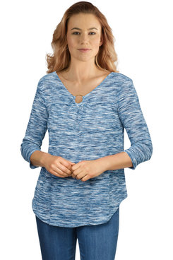 Image: Plus Women's Space-Dye Ribbed Top With Ring Detailing