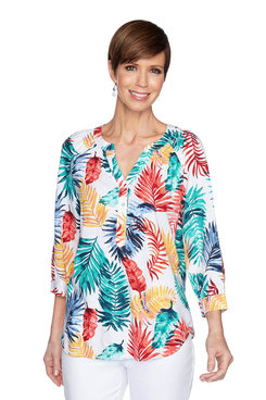 Image: Printed Leaves Linen Top