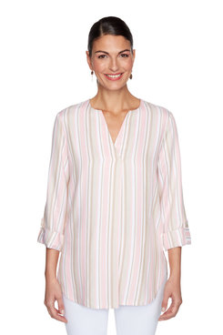 Image: Rayon Twill Multi Striped Top