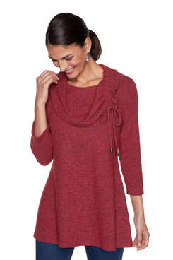 Image: Ruched Cowl Neck Heather Knit Pullover